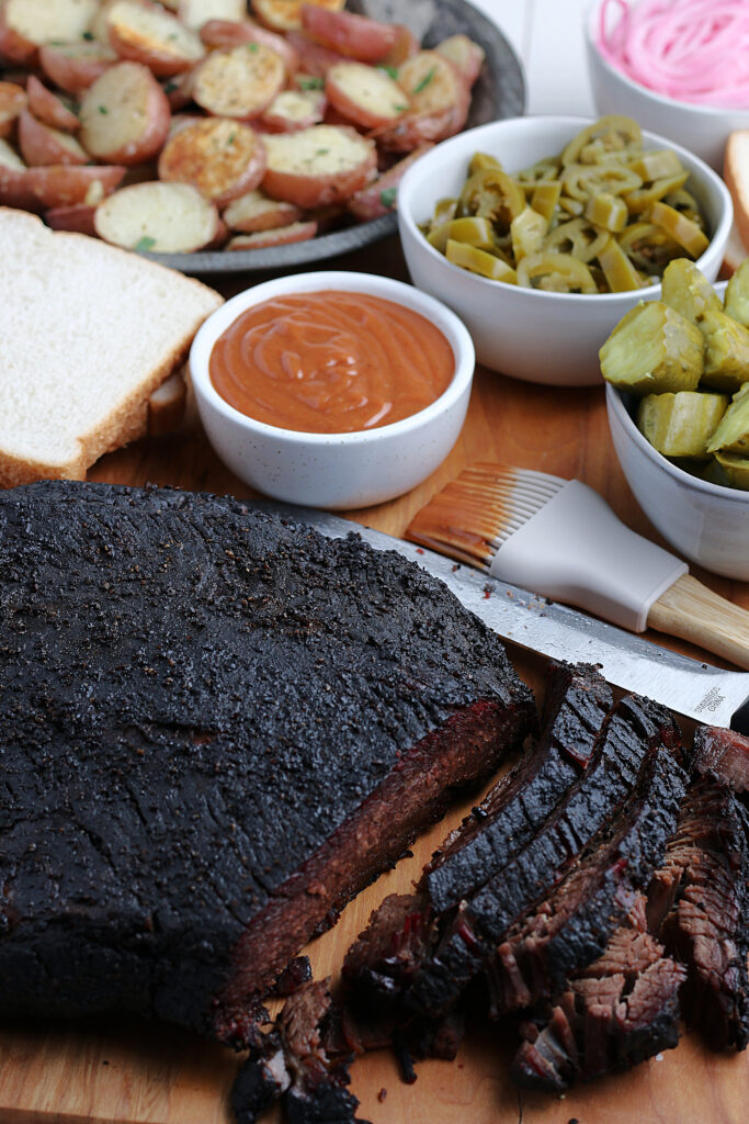 smoked brisket served with pickles and jalepenos