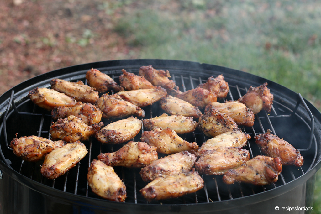 Cooking wings low and slow on the Weber Smoker
