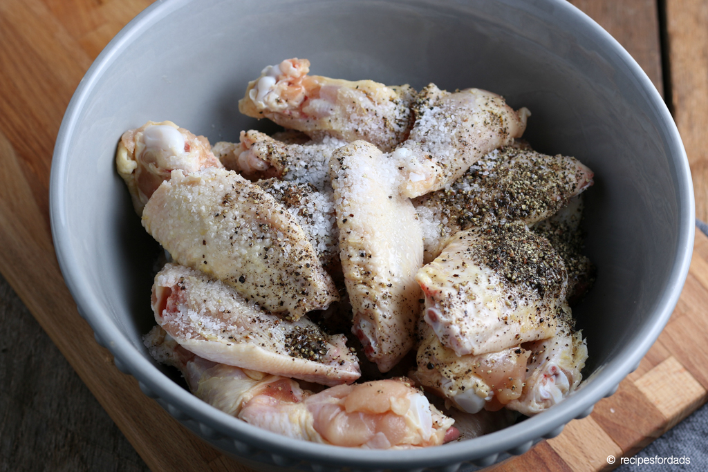 Dry rub with coarse black pepper and salt for chicken wings