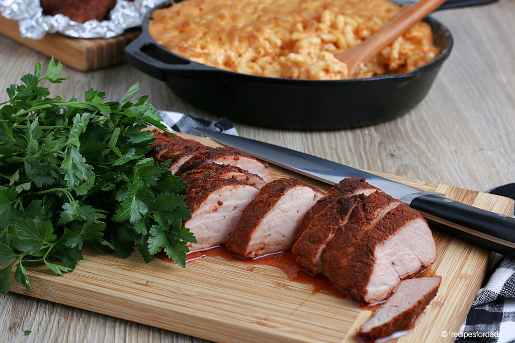 Smoked Pork Tenderloin served with smoked macaroni cheese