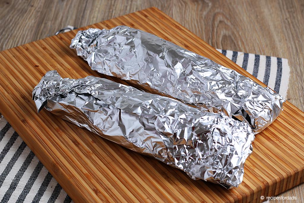 pork tenderloin wrapped in aluminum foil