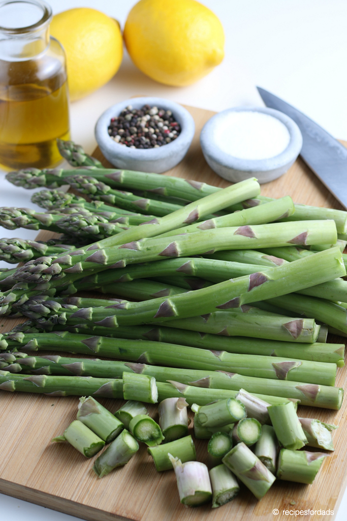 Cut ends of asparagus, and serve with pepper, oil, and salt
