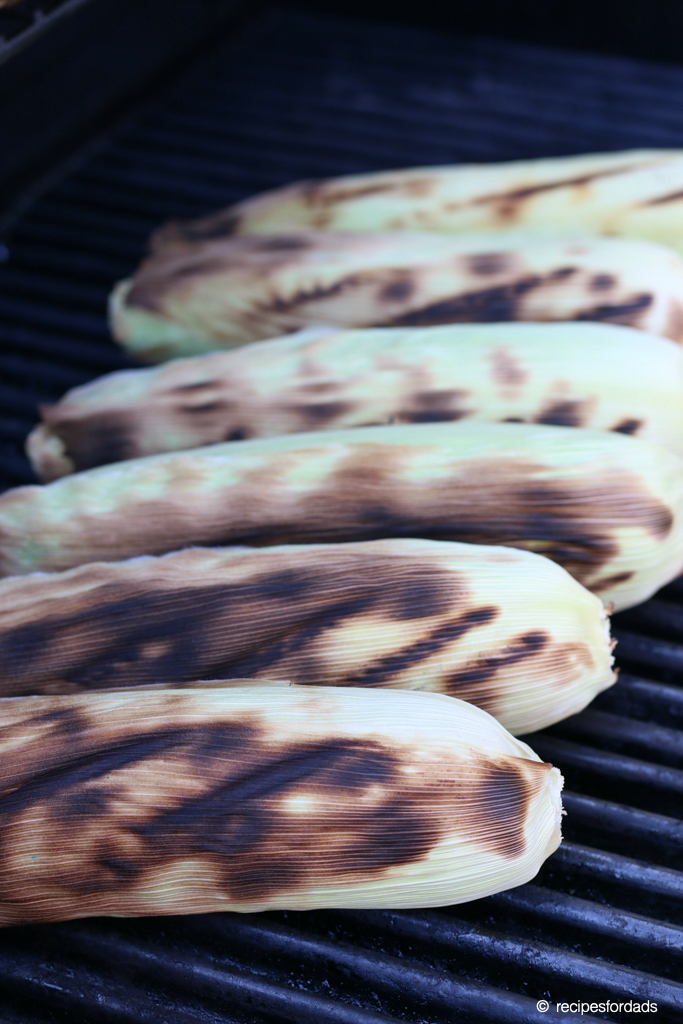 grilling corn on the cob with the husks on