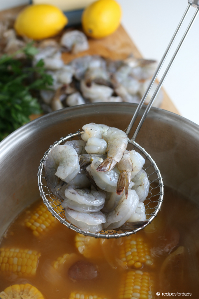 Boiling Raw Shrimp and added to the One Pot Shrimp Boil Recipe