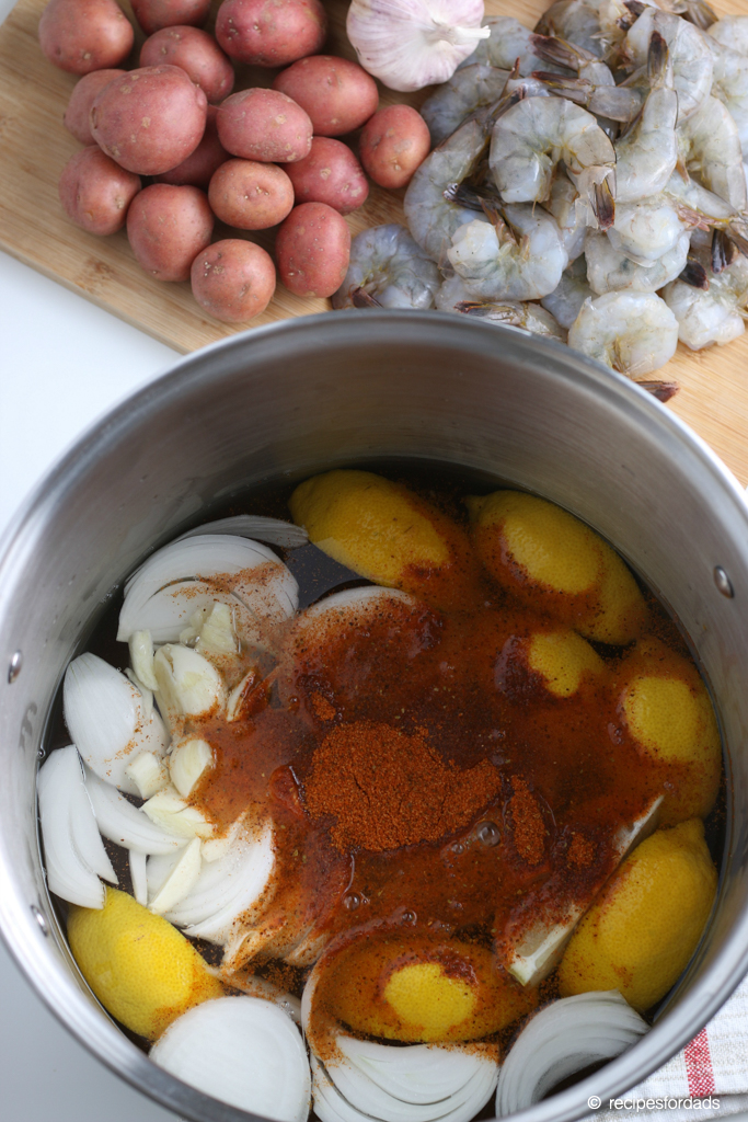Made from scratch cajun seasonining added to onions and lemons in the one-pot
