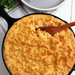 Smoked mac and cheese served in cast iron skillet