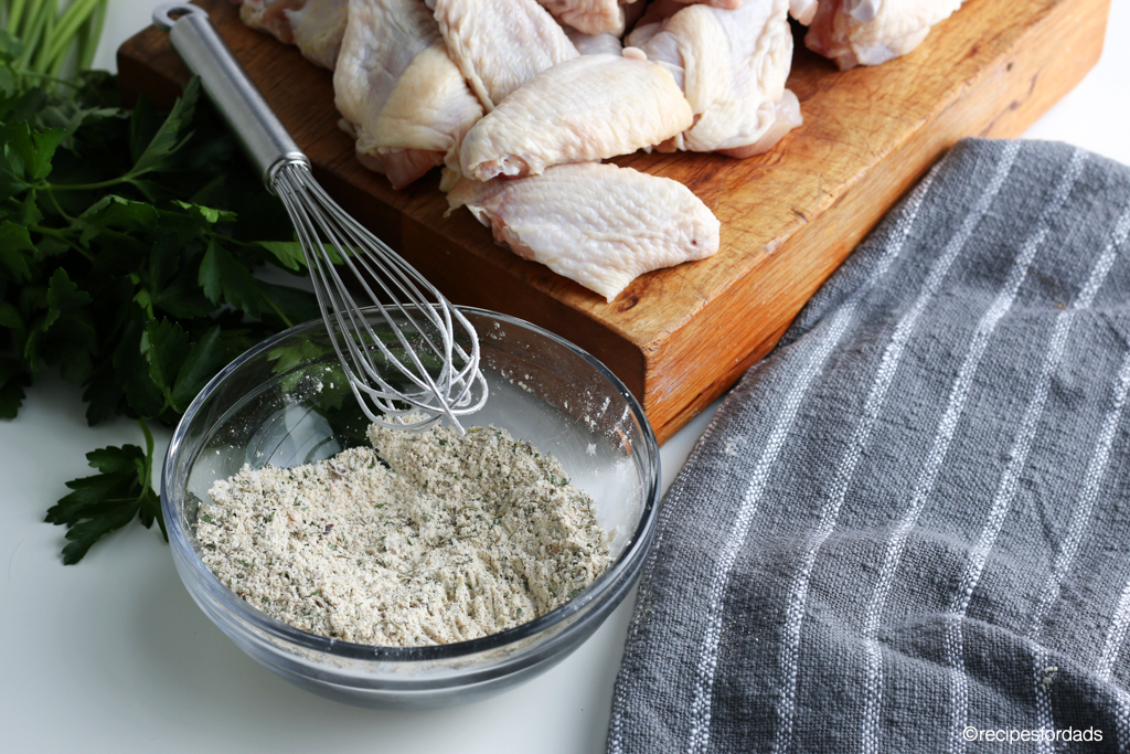 dry rub for chicken wings, served in glass bowl