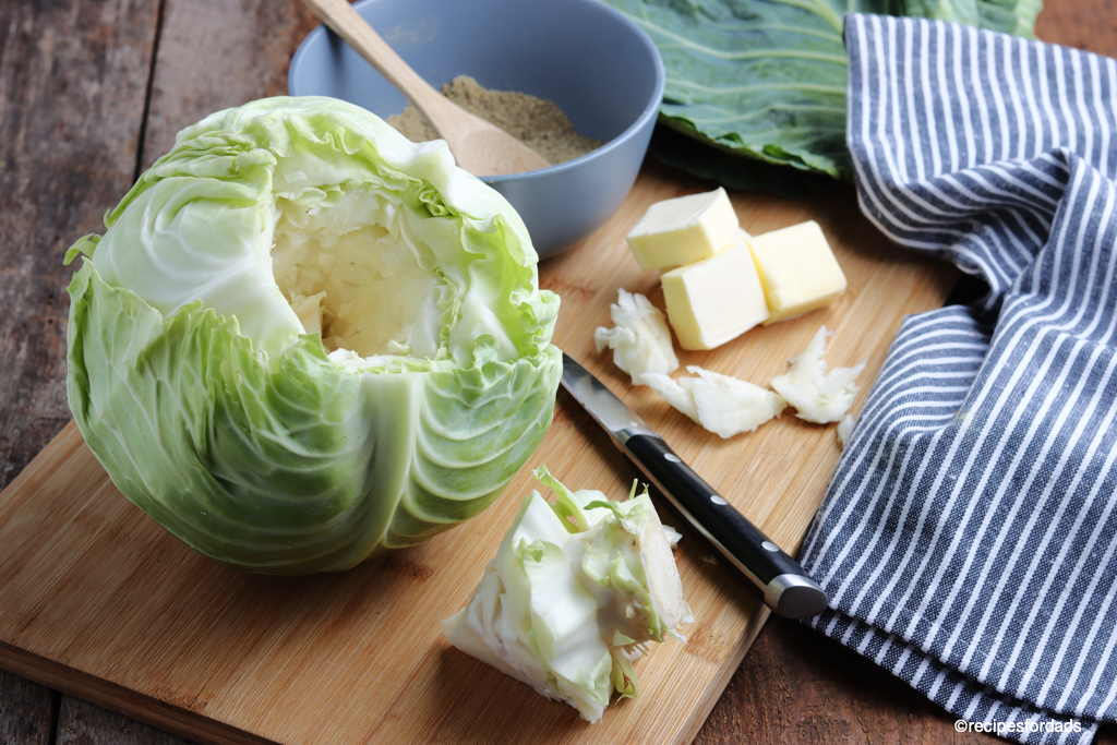 prepping the cabbage by cutting core out of cabbage