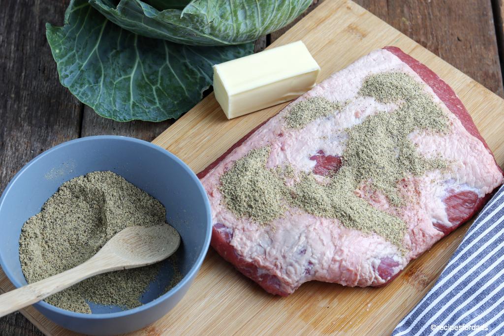 seasoned corned beef brisket ready for smoking