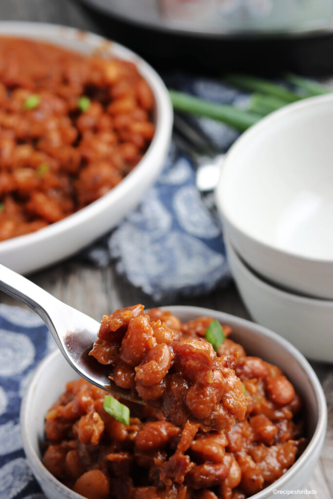 bbq baked beans served in white bowl, garnished with green onions