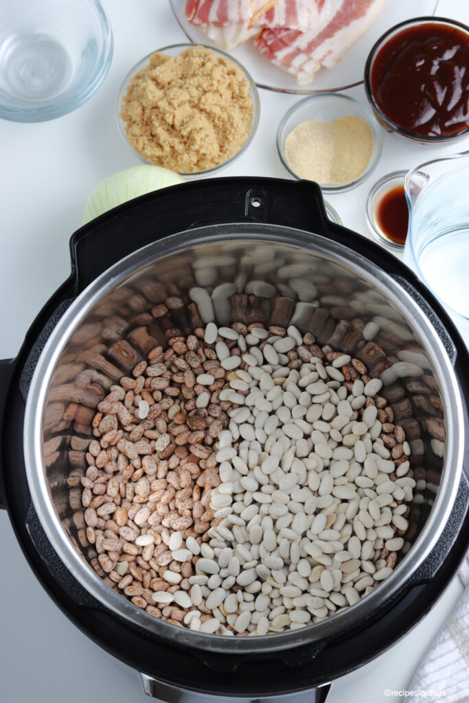 uncooked dry navy and pinto beans in the instant pot