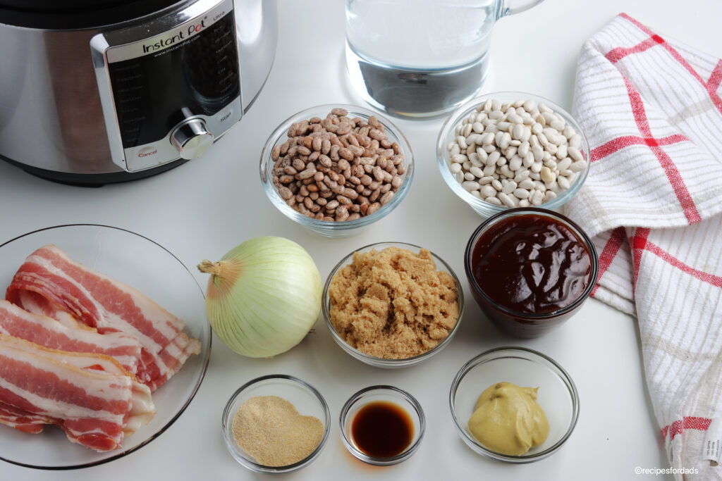 ingredients used to make bbq baked beans with pressure cooker in the background